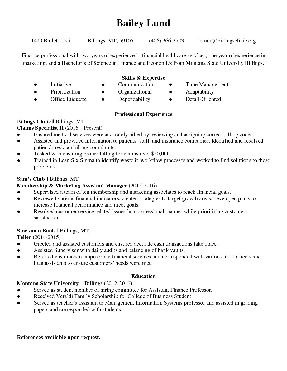 RESUME2018 - Central Montana Medical Center
